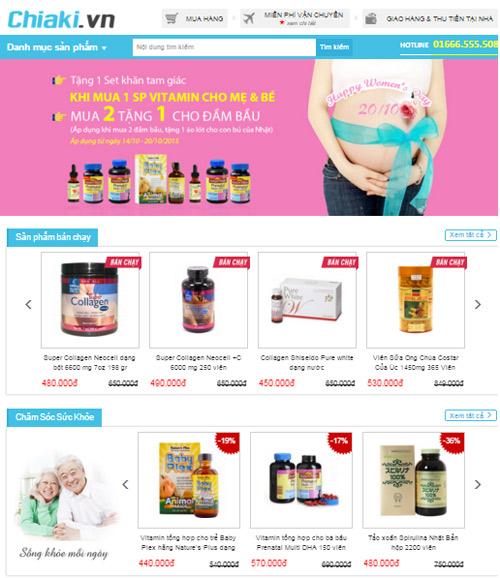 Hình ảnh website chiaki.vn